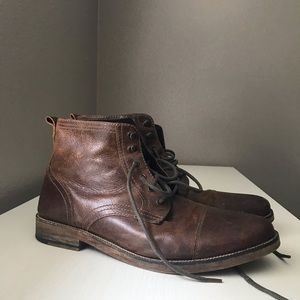 Crevo Cap Toe Lace Up Leather Boots